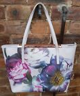 Ted Baker Large Floral Genuine Leather Zipped Tote Bag