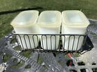 VTG Milk Glass Refrigerator Set Of 3 With Metal Rack, Anchor Hocking