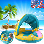 Girl Baby Swim Ring Inflatable Toddler Float Swimming Pool Water Seat+Canopy US