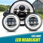 7'' LED Headlight Passing Lights For Harley Fatboy Heritage Softail Deluxe FLST