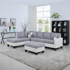 Classic Two Tone Large Fabric Bonded Leather Living Room Sectional Light Grey WH