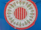 VINTAGE 1970s GERMAN TRADITIONAL CHRISTMAS TREE PRINT ROUND TABLE CLOTH