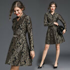 """2018 spring women's fashion temperament stand collar """"V""""neck lace A-line Dress"""
