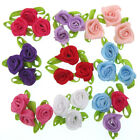 100pcs Mini Satin Rose Buds Flower Leaf Little Rose Applique Tiny Rolled Rosette