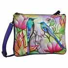 Anuschka Leather Hand Painted Spring Passion Design Handbag Cross Body Bag NWT