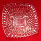 Vtg MID CENTURY Collectible DIAMOND QUILT PATTERN Square Clear Glass Candy Dish