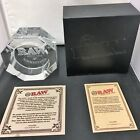 New RAW Rolling Papers Etched Crystal Leaded Glass ASHTRAY LIMITED EDITION