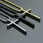 Mens Fashion Jewelry Plain Charm Gold Black Silver Cross Pendant Chain Necklace