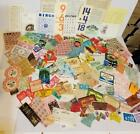 150 pc vintage ephemera paper pack variety lot tickets stamps labels game X