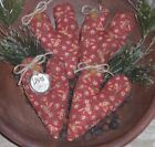 4 Primitive Floral LOVE Hearts Bowl Fillers Ornies Ornaments Tucks