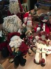 Lot of 8 Country Primitive Santa Claus Doll Figures Mouse Angel Christmas Snow