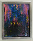 Original Rainbow and Black Abstract Fluid Acrylic Painting By Emily Neef