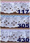 2 RUFFLED WHITE EYELET LACE WITH GINGHAM BINDING FREE SHIPPING IN USA