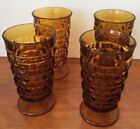 VINTAGE INDIANA COLONY GLASS WHITEHALL CUBIST AMBER ICED TEA TUMBLERS SET OF 4