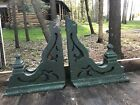 PAIR Old Architectural CORBELS ORNATE GREEN SHAPELY FINIALS LARGE