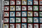 Cotton quilt fabric FQ Periodic table science novelty I SPY black red blue