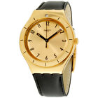 Swatch Irony Coraggiosa Gold Dial Leather Strap Unisex Watch YGG105