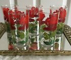 Vintage Hibiscus Drinking / Juice Glasses - Set of 5.  1960's  Housewarming gift