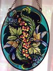 NEW Amia 5 x7 Inch Oval Hand Painted Glass Sun catcher Bluebird and Berries
