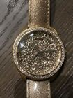 New Guess Rose Gold Fossil Leather Watch Diamonds Crystals Sparkle Shimmer