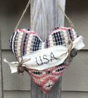 COVERLET HEART Hanger - Vintage Wool - Patriotic Summer Ornament  Bowl Filler