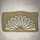 *Vintage Ivory Seed Pearls Beaded Fan Design Clutch Purse Evening Bag Japan