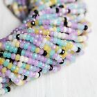 pastel color jade beads faceted rondelle full strand approx 3mm x 4mm
