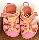 toddler girl size 5 Bright Hot Pink And Yellow Sandals Beach Sneaker Play Shoes
