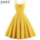 Vintage 1950s Style Retro Rockabilly Swing Dress Plus Size Polka Dot Solid Color
