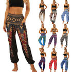 Fashion Women Boho Trousers High Waist Wide Leg Loose Palazzo Baggy Harem Pants
