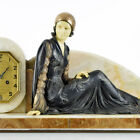 LARGE 1920s French ART DECO LADY SCULPTURE Mantel Clock by MENNEVILLE