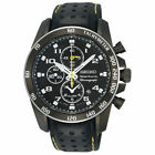 Seiko Sportura Chronograph Black Dial Leather Strap Men's Watch SNAE67