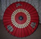 VINTAGE CHINESE PAINTED PAPER AND BAMBOO PARASOL
