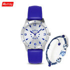New Blue Fashion Leather  Women Watches And Blue and racelet  Design Bangles