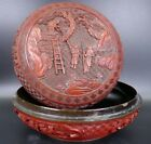 Fine Old Chinese 19th/20th Carved Cinnabar Covered Box Men's Working landscape
