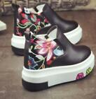 Womens Floral High Wedge Platform Round Toe Sneakers Pull On Creepers Shoes D819