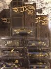 Hot Wheels 2018 50th Anniversary Black and Gold set of 6 plus Gold Chase Camaro