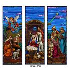 Stained Glass Christmas Nativity Polyester Banner Set 18 Inch W x 5 Fo New