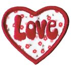 Love Heart with Flowers Applique Patch Iron on