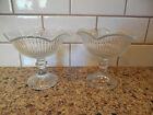TWO Vintage Clear Ribbed Glass Pedestal Candy Dish Compote Dessert Sherbet Bowl