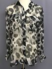 Equipment Femme Size Small Button Front Shirt Blouse Grey Animal Print Flaw