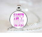 I Do Hunt Like A Girl PENDANT NECKLACE Chain Glass Tibet Silver Jewellery