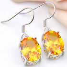 Special Gold Color Morganite Gemstome Women Jewelrt Silver Earrings 1 Pair