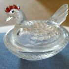 VINTAGE HEN CHICKEN ON NEST SMALL COVERED SALT CELL CLEAR GLASS!