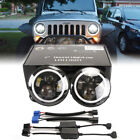 Hi Lo RAL 7 Inch Round LED Headlights Halo Angle Eyes For Jeep Wrangler JK LJ TJ