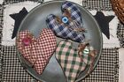 Primitive Heart Ornies Bowl Fillers Homespun Valentines Day Prim Set of 3