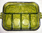 OLIVE GREEN SERVING DISH, Indiana Glass Tray, Rectangular 5 Partition Dish 11X8