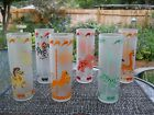 6 Vintage Federal carousel horse Tom Collins Frosted glasses, rare