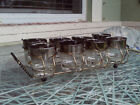 Vintage Mid Century 8 Silver Cocktail Glasses With Caddy