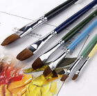 6pcs Red Sable Hair Filbert Artist Paint Brushes For Oil Acrylic Watercolor US